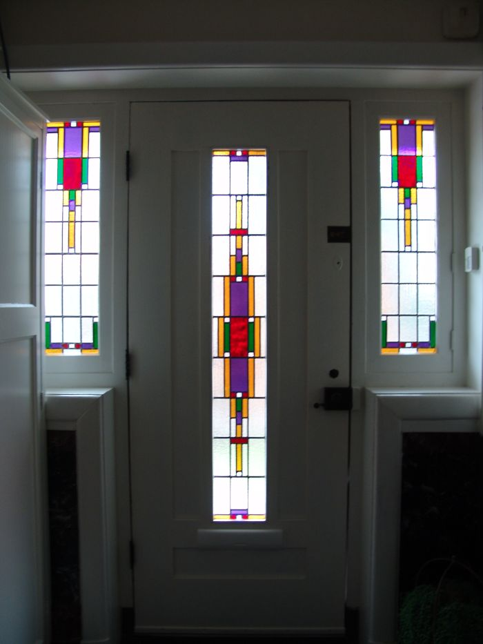 Betere Glas-in-lood in dubbelglas, jaren '30 stijl, Amersfoort 2004 LX-66